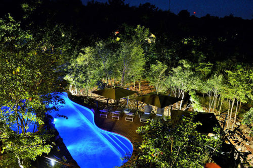Victoria Falls Safari Club Swimming pool precinct at