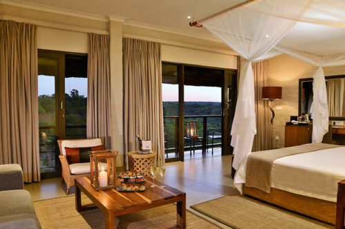 Victoria Falls Safari Club Suite Room at sunset